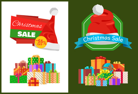 Christmas sale promo sticker with hat, advertisement text on ribbon and piles of packed presents wrapped in colored paper bows vector illustration set