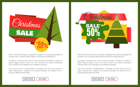 Christmas sale off card vector illustrations with Christmas trees, advertising text, push-buttons isolated on white backgrounds with grey frames