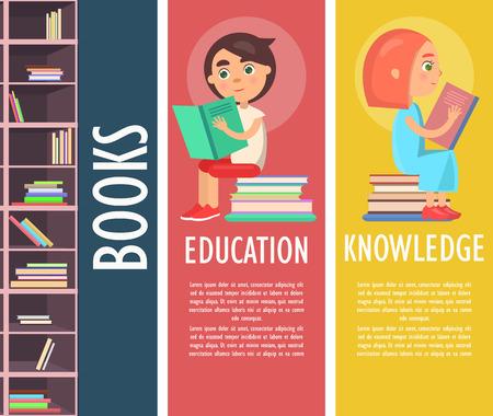 茶色の本棚ベクトルイラストで教育、知識、カラーブック。読書の子供たちはエキサイティングな印刷された物語を保持し、文学の山の上に座って