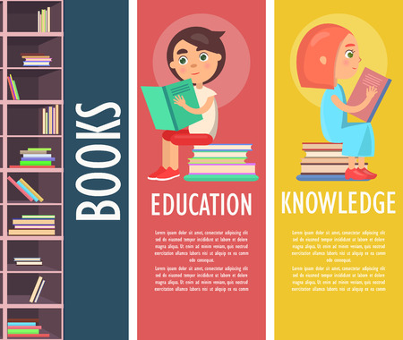 Education, knowledge and color books in brown bookcase vector illustration. Reading kids holds exciting printed story and sits on pile of literature.