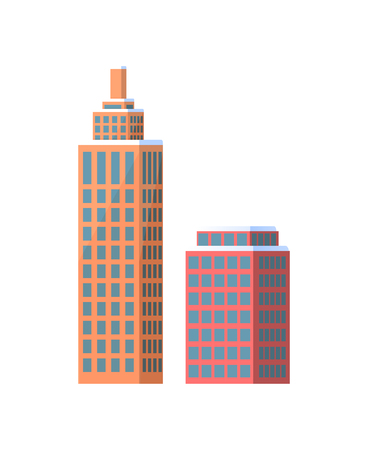 Set of city buildings icons isolated on white background. Vector illustration with types of office or dwelling houses and high skyscrapers