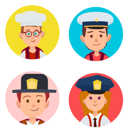 Boy with glasses in white toque, two kids in firefighter and seaman hats, red-haired girl in policeman cap vector illustration.