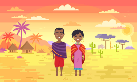 Africa people man and woman in national cloth standing in hot dessert among palms and baobabs, happy ethnic african couple vector illustration