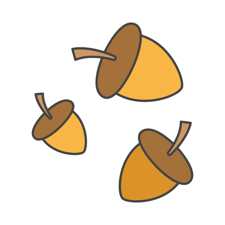 Cartoon forest acorns isolated on white background. Food for small birds, squirrels and pigs. Nuts with brown hats from oak vector illustration. Organic fruit of trees and traditional medicine means.
