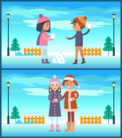 Happy couple boy and girl going to play snowballs, couple drinks coffee outdoors at wintertime landscape, fence and lanterns vector illustration
