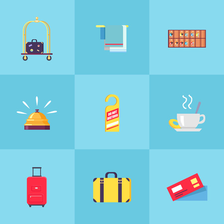 Suitcase on trolley, towel holder, shelf with keys, gold bell, do not disturb tag, cup of tea, heavy valises and pair of tickets vector illustrations.