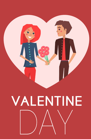 Valentines Day concept poster with dating couple, male presents flowers to female, flirting lover together vector banner in heart shape frame. Ilustrace