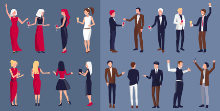 Women wearing dresses and men dressed in suits, set of icons, separated from each other, people partying with wine vector illustration. Illustration