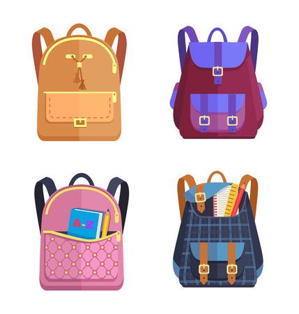 ジッパーとファスナー、ハンドルとポケットを持つファッショナブルなモデル、ベクトルイラストと異なる色の女の子と男の子のためのリュックサ  イラスト・ベクター素材