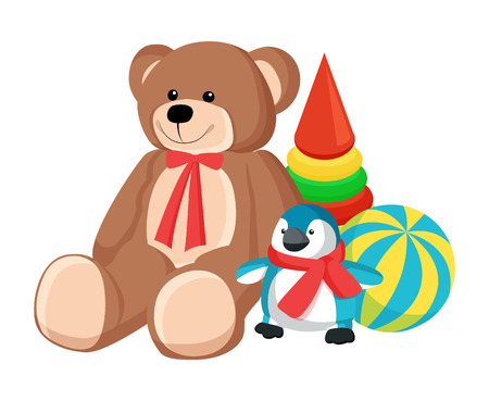 Teddy bear with ribbon and penguin wearing scarf, cone and ball with stripes, toys produced at Santa Claus factory for children vector illustration.