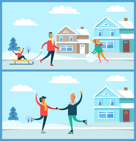 Wintertime activities on nature of people, skating couple, kid sitting on sled and woman with ball of snow, buildings and trees vector illustration