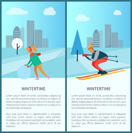 Wintertime collection of placards with titles and text, woman and snowball, skier and cityscape with buildings and trees, vector illustration
