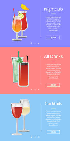 Nightclub drinks and cocktails web page design with alcoholic beverages in shiny glasses. Vector illustration with room for text and buttons.