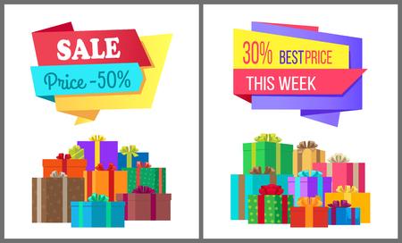 販売価格50ベストオファー今週は、弓ベクトルバナーでトッピングされた装飾色紙に包まれたギフトボックスの山と特別な排他的なポスター
