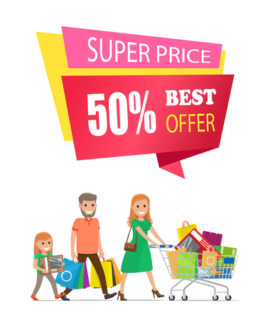 Super price best offer 50 off label on poster with family on shopping. Mother, father and daughter carrying trolley full of gifts vector isolated