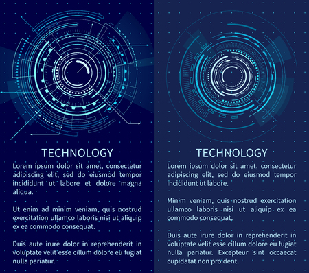 Technology banner with two interface patterns vector illustration with text sample various bright lines circles and polygons isolated on dark backdrop Ilustrace