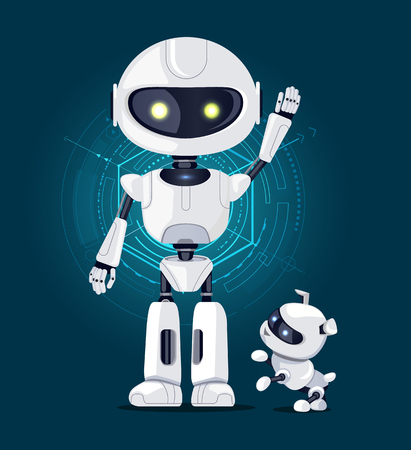 Robot with raised hand and white eyes, and robotic dog ready to play with master, interface with lines on background isolated on vector illustration Stock fotó - 93651163