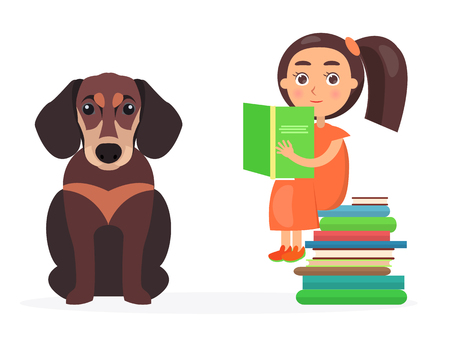Pretty schoolgirl sits on pile of literature and holds green schoolbook, beside sitting brown dachshund vector illustration Ilustrace