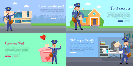 Delivery service web banners set with cartoon postman. Postal courier near post building flat vector illustration. Mailman delivers letter in office, parcel home and romantic postcards on Valentine Stock Vector - 93651166