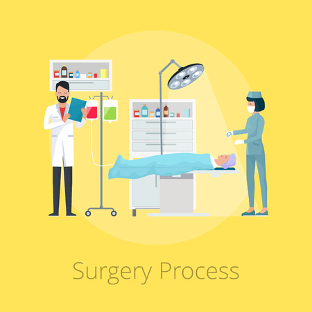 Surgery process with doctor and his assistant conducting operation in hospital surgery room. Vector illustration isolated on yellow background