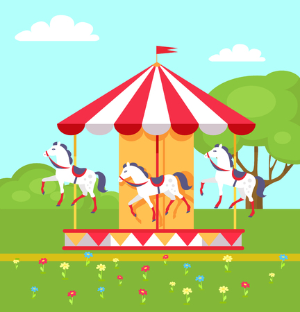 Rotating horses carousel in city park, vector illustration of merry-go-round entertainment item on green lawn with flowers and trees