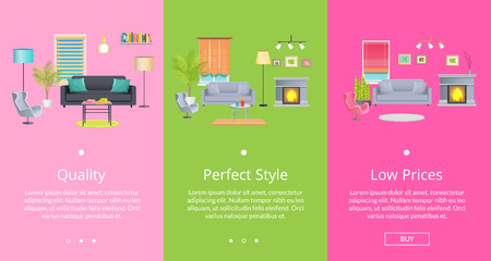 Quality and perfect style web pages with text representing rooms collection with necessary furniture and modern decor vector illustration Çizim