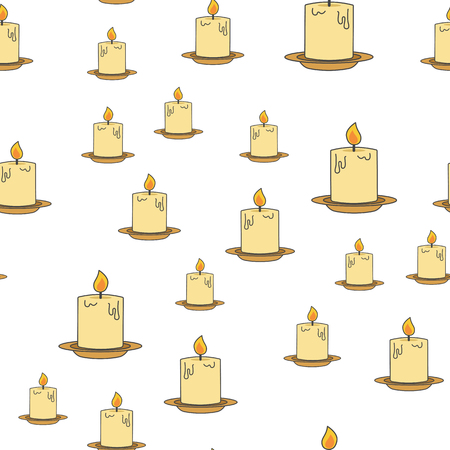 Inflamed candles seamless pattern. Thick wax or paraffin candle with lit wick on plate flat vector on white background. Ancient lighting illustration for wrapping paper, prints on fabric Ilustracja