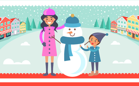 Mother and child making snowman vector on background of city landscape. Mom and son near funny winter creature made of snow in blue scarf and hat Illustration