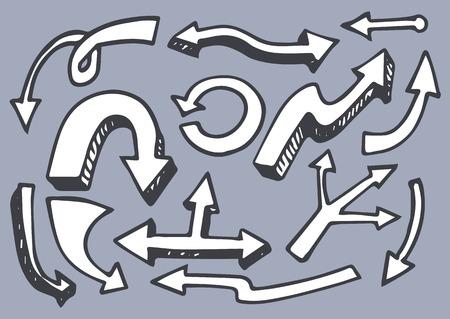 Arrows Set Hand Drawn Elements Vector Illustration Illustration