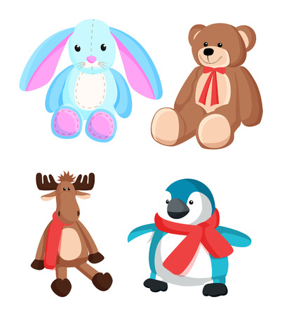 Bunny and teddy bear with red ribbon on neck, reindeer with scarf and penguin of blue color, toys for Christmas vector illustration isolated on white Иллюстрация