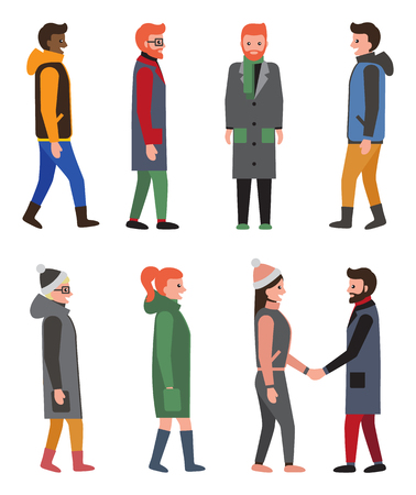 Citizens collection of icons, people wearing warm clothes in cold weather, friends and handshake, woman with ponytail isolated on vector illustration Standard-Bild - 93652721