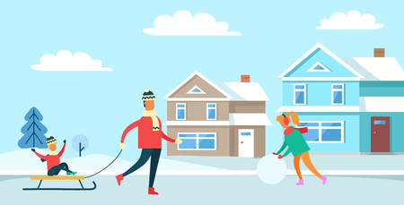 Winter recreation, pastime of family, father and child sitting on sled, woman with snowball, buildings and trees, isolated on vector illustration Ilustracja