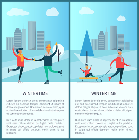 Wintertime banners, couple of skaters and family, father and kid sitting on sled, buildings and trees, text sample and titles vector illustration Ilustração
