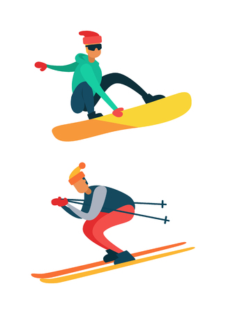 Man snowboarding, riding down on skis winter sport activity isolated on white vector illustration of snowboarder, extreme skiing male jumping.