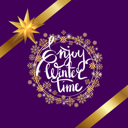 Enjoy winter time, title written in ornamental circles of snowflakes, there are golden ribbon around it vector illustration isolated on purple 일러스트