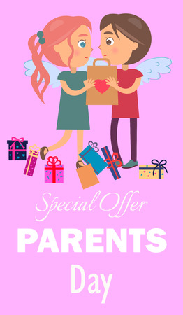 Special Offer Parents Day Poster Boy Girl Present Vector illustration.