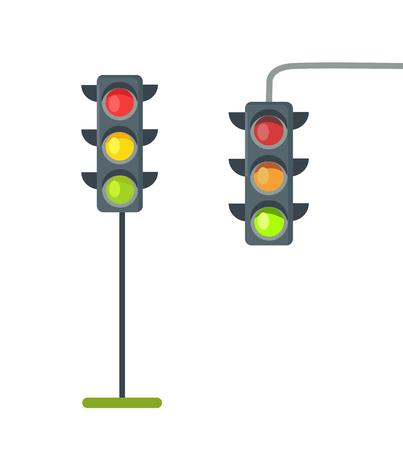Ícones de semáforos isolados vetor no branco