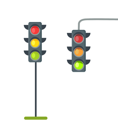 Icons of Traffic Lights Isolated Vector on White