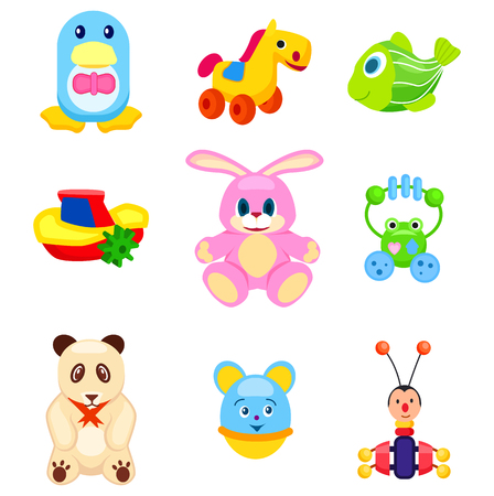 Cute Soft and Plastic Toys Isolated Illustrations