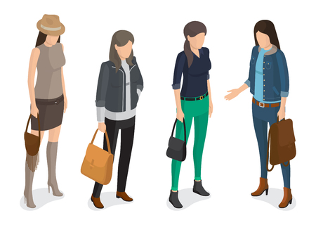 Women Collection of Model in Modern Autumn Apparel Illustration