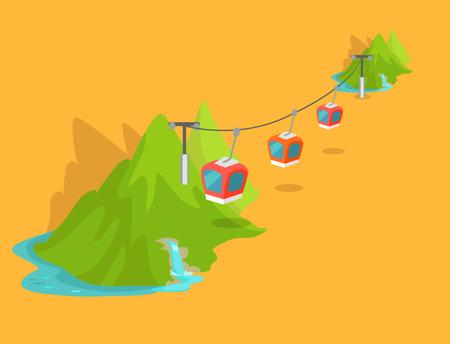 Maokong-bergkabelbaan in het grafische pictogram van Taiwan Stock Illustratie