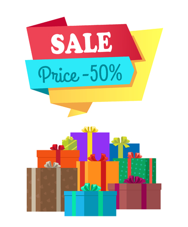 Sale price 50 half cost special exclusive offer poster with piles of gift boxes wrapped in decorative color paper, topped by bows vector illustration