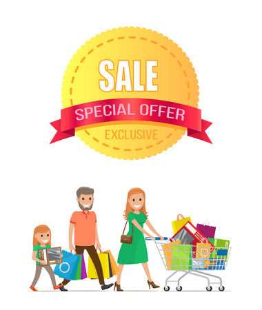 Sale special offer exclusive discount promo poster with people shopping. Parents and children vector illustration of happy family carrying trolley Illustration
