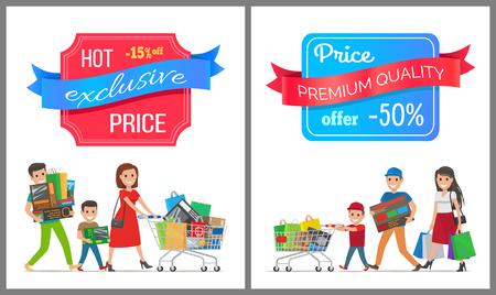 Hot exclusieve prijs premium kwaliteit verkoop halve kosten korting poster mensen winkelen. Ouders en jongensfamilie die karretjehoogtepunt van giften vastgestelde vector dragen