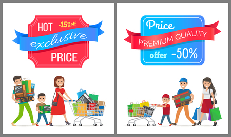 Hot exclusive price premium quality sale half cost discount poster people shopping. Parents and boy family carrying trolley full of gifts set vector