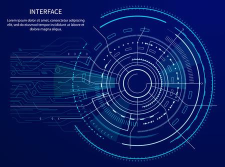 テキストサンプルとタイトルを持つインターフェイスポスター、線と矢印を持つ円形の形状、正方形と輝き、青で隔離されたベクトルイラスト