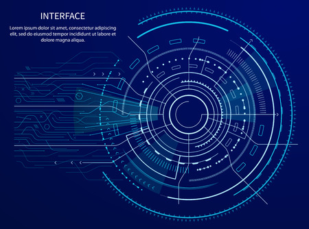 Interface poster with text sample and title, circular shape with lines and arrows, squares and shining, vector illustration isolated on blue
