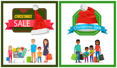 Two Christmas sale banner vector illustration with happy families, many purchase, ad text, Santa s hats, isolated on white with clolorful frames posters