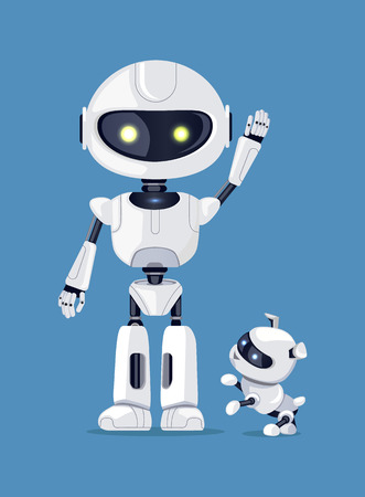 Robot with raised arm, waving robotic creature, standing beside friendly dog ready to play, vector illustration, isolated on blue background