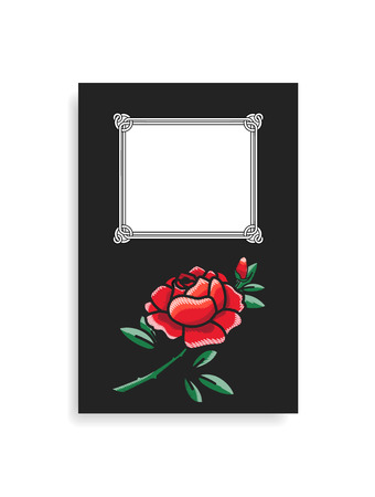 Photo album cover design with hand drawn red rose flowers with green leaves at bottom, place for text in frame vector illustration, border with blossom